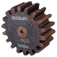 1930s Industrial Wooden Gear Table Sculpture Decor Foundry Factory Object