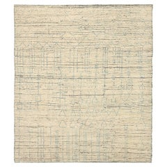 Nazmiyal Collection Beige Geometric Modern Distressed Rug. 8 ft 2 in x 9 ft 4 in