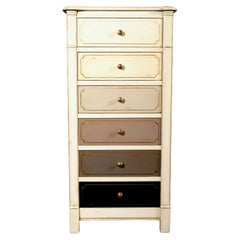 Small French White Lacquered Semainier, 6 Drawers Each with Customizable Colors