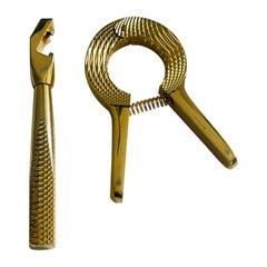 1950's English Gold Plated Bar Tool Set by Asprey