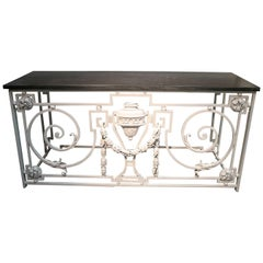 1950s French White Iron Console Buffet Table w/ Black Marble Top