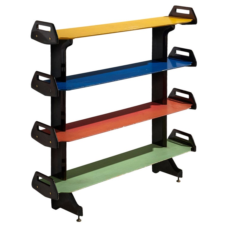 Ico Parisi Colorful Bookcase Model '457' in Wood and Metal For Sale