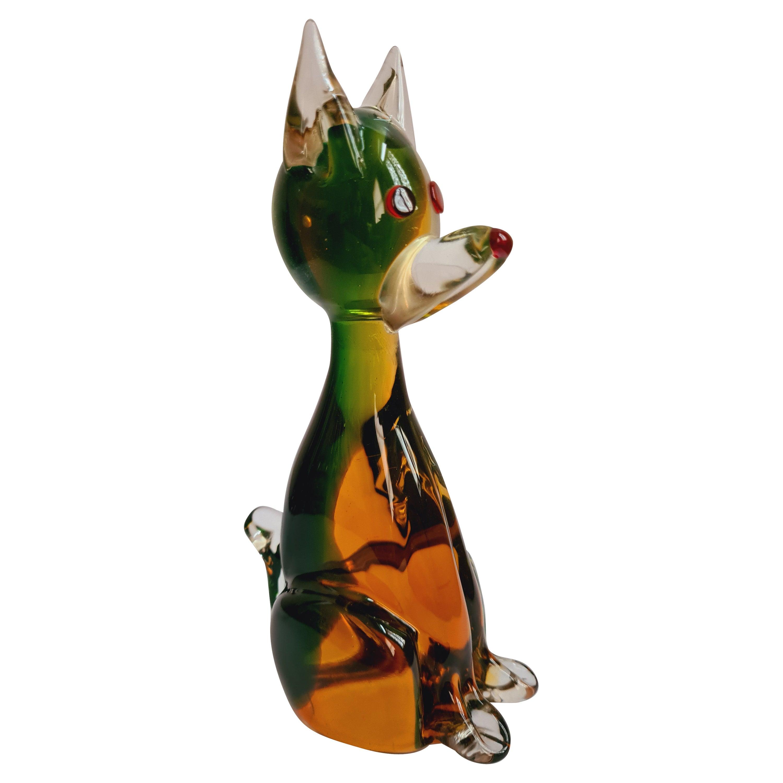 Murano Green/Amber Organic Sommerso Glass Dog Figurine, Antonio Da Ros