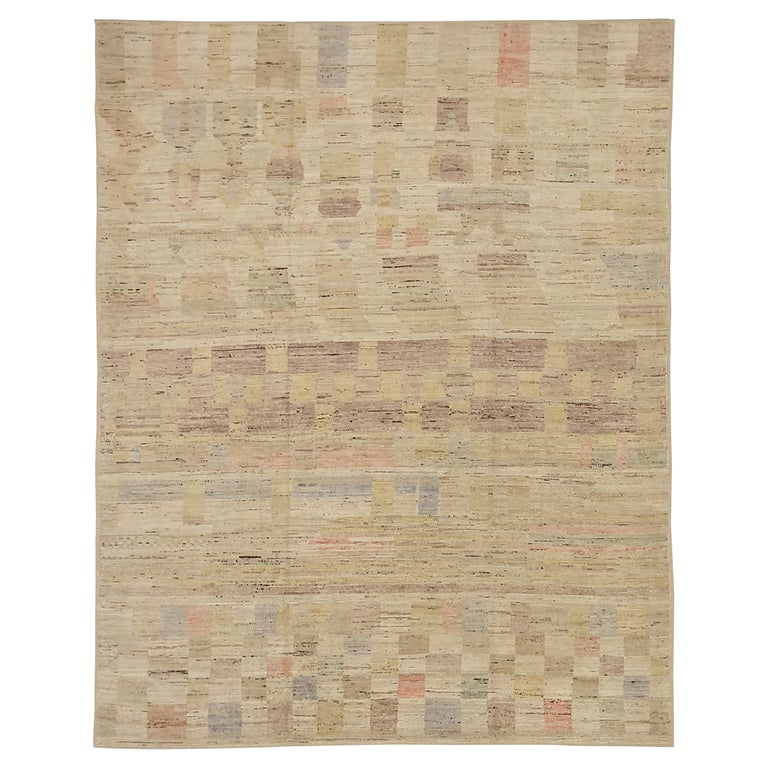 Nazmiyal Collection Geometric Modern Distressed Rug. 9 ft 3 in x 11 ft 9 in  For Sale