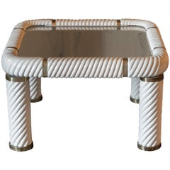 1970's Tommaso Barbi Ceramic Coffee Table with Mirrored Top and Brass Details