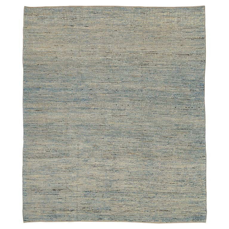 Nazmiyal Collection Blue Textured Modern Distressed Rug. 9 ft 8 in x 11 ft 8 in For Sale