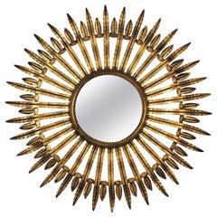 Sunburst Mirror in Gilt Iron, 1960s