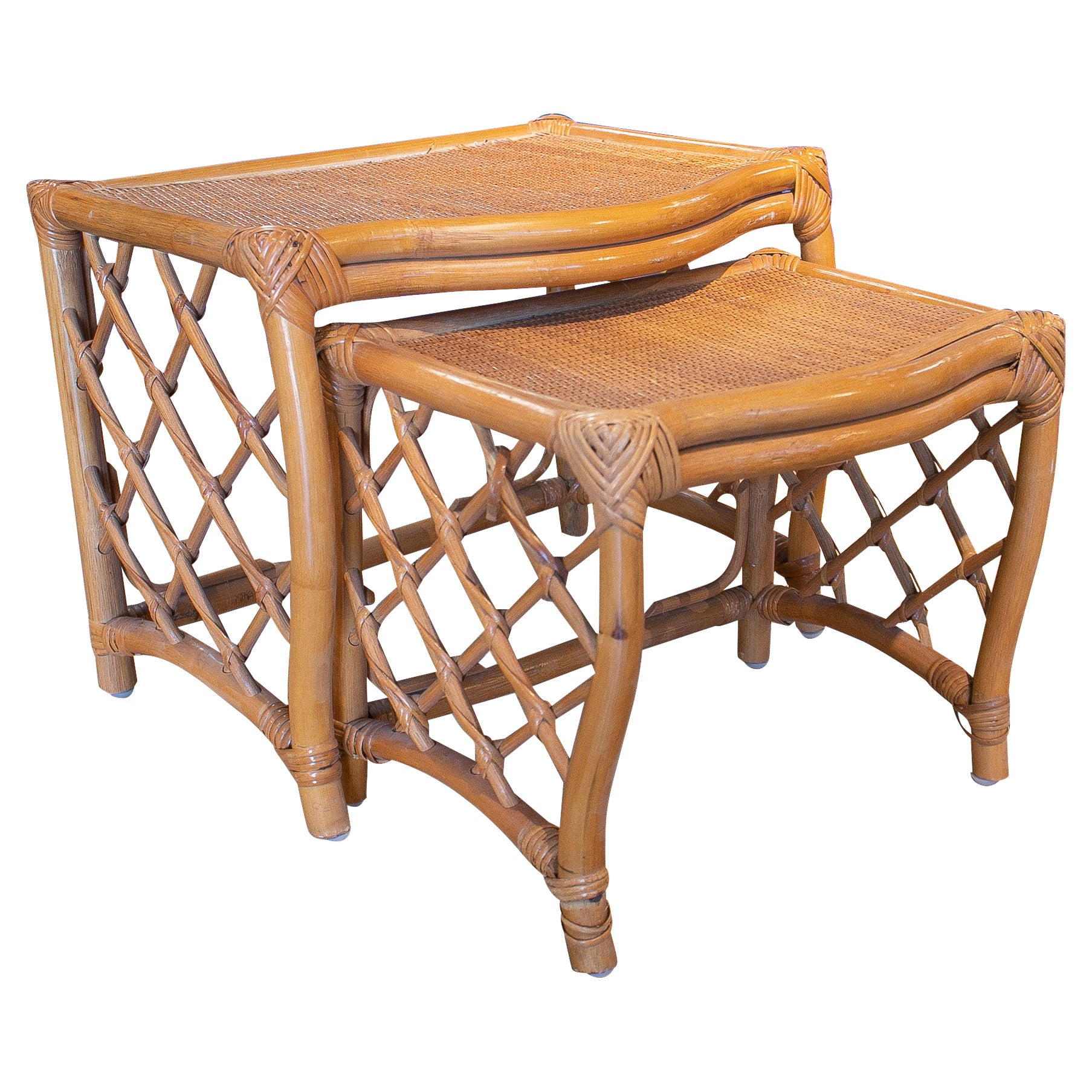 Set of Two 1980s Spanish Hand Woven Bamboo Nesting Tables
