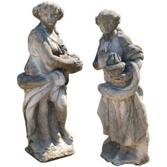 Pair of Classical Cast Stone Four Seasons Garden Statues