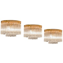 Set of Three Ceiling Lights in Brass and Glass