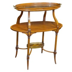 Edwardian Inlaid Mahogany Etagere with Glass Tray Top