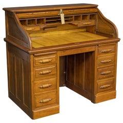 Early 20th Century Small Walnut Roll Top Desk