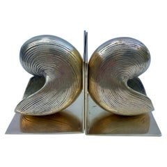 Pair Brass Conch Seashell Nautilus Bookends
