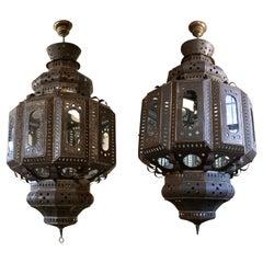 Pair of 1990s Spanish Handmade Iron Ceiling Hanging Lamp Lanterns