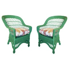 Pair of 1970s Spanish Reupholstered Hand Woven Wicker Green Sofa Chairs