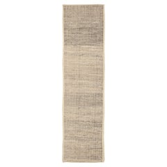 Nazmiyal Collection Beige Modern Distressed Runner. 3 ft 3 in x 12 ft 1 in