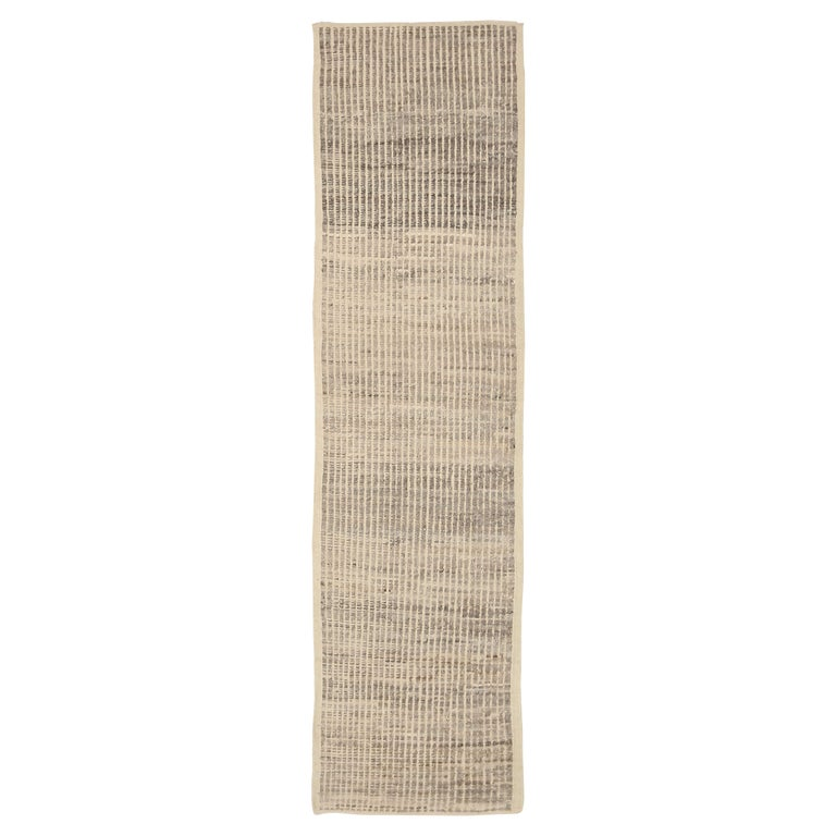 Nazmiyal Collection Beige Modern Distressed Runner. 3 ft 3 in x 12 ft 1 in  For Sale