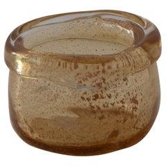 """Rubi"" Amber Colored Murano Glass Terracotta Powder Contemporary Art By Nino"