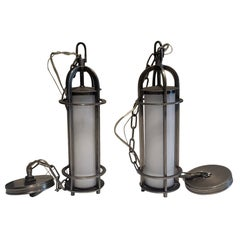 Pair of Modern Pendant Light Fixtures or Chandeliers