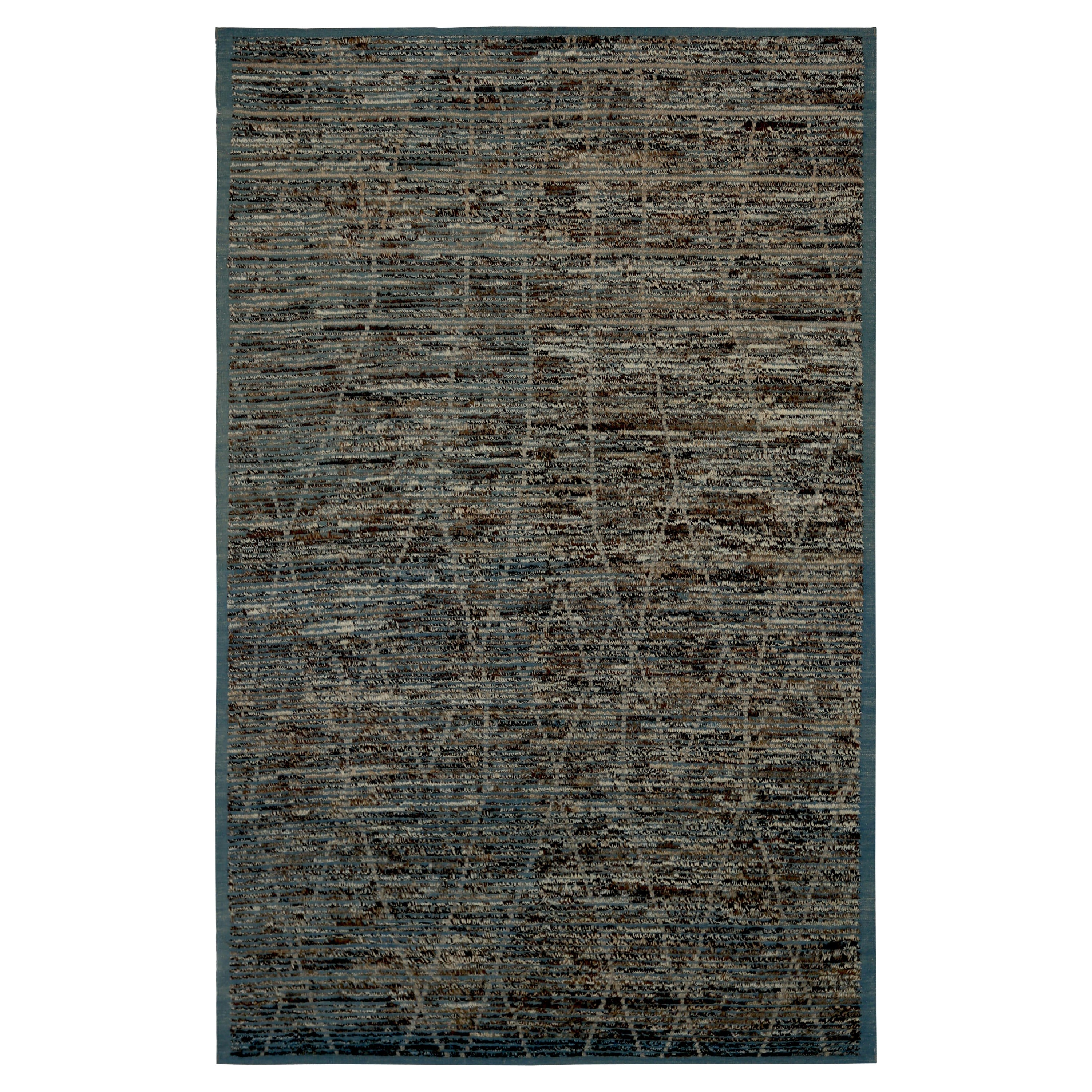 Nazmiyal Collection Navy Blue Textured Modern Distressed Rug. 6 ft 7 in x 10 ft