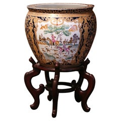 Mid-Century Chinese Painted and Gilt Porcelain Fish Bowl on Wood Stand