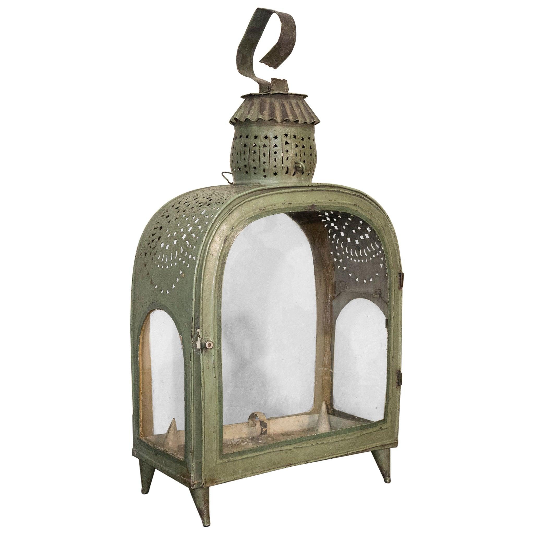Early 20th Century French Green Toleware Garden Lantern, Glazed