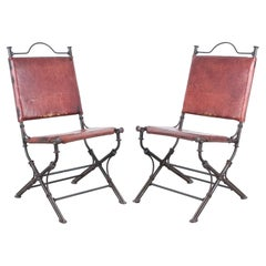 Ilana Goor Style Wrought Iron Leather Garden Chairs