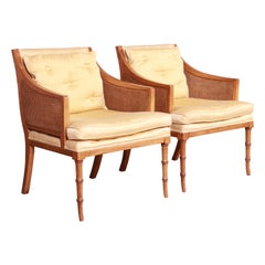 Baker Furniture Hollywood Regency Faux Bamboo and Cane Lounge Chairs, Pair