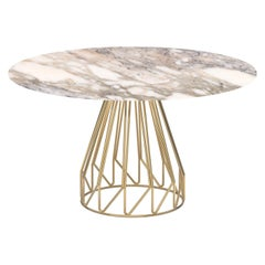 Contemporary Minimalist Table Gold, Arabescato caldo Made in Italy by LapiegaWD