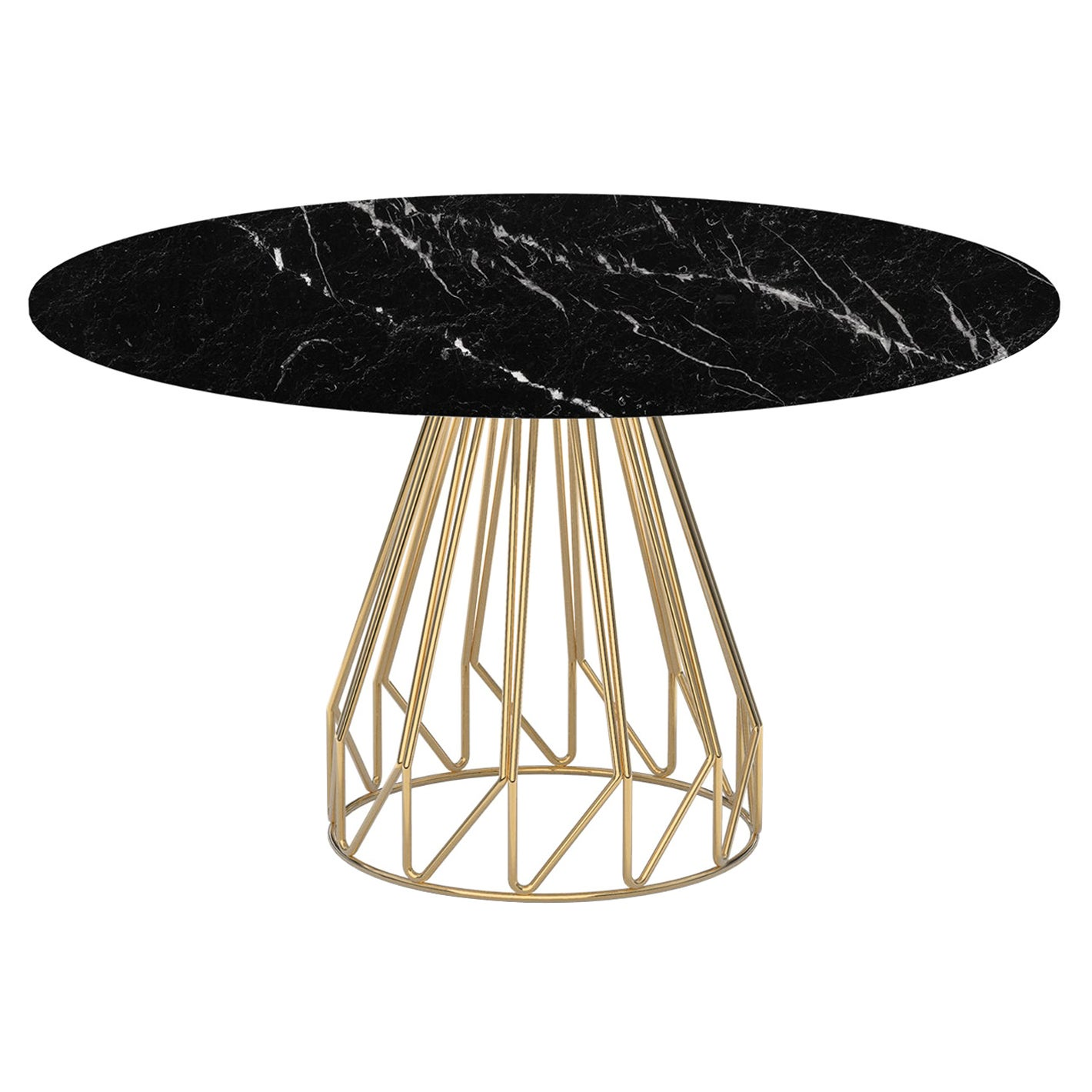 Contemporary Minimalist Table Gold, Black Marquinia Made in Italy by LapiegaWD