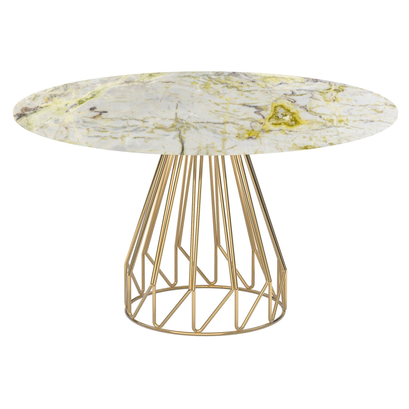 Contemporary Minimalist Table Gold, Calacatta Green Made in Italy by LapiegaWD