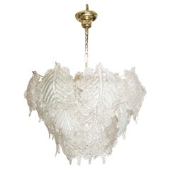 Large Vintage Mazzega Murano Ice Frost Chandelier
