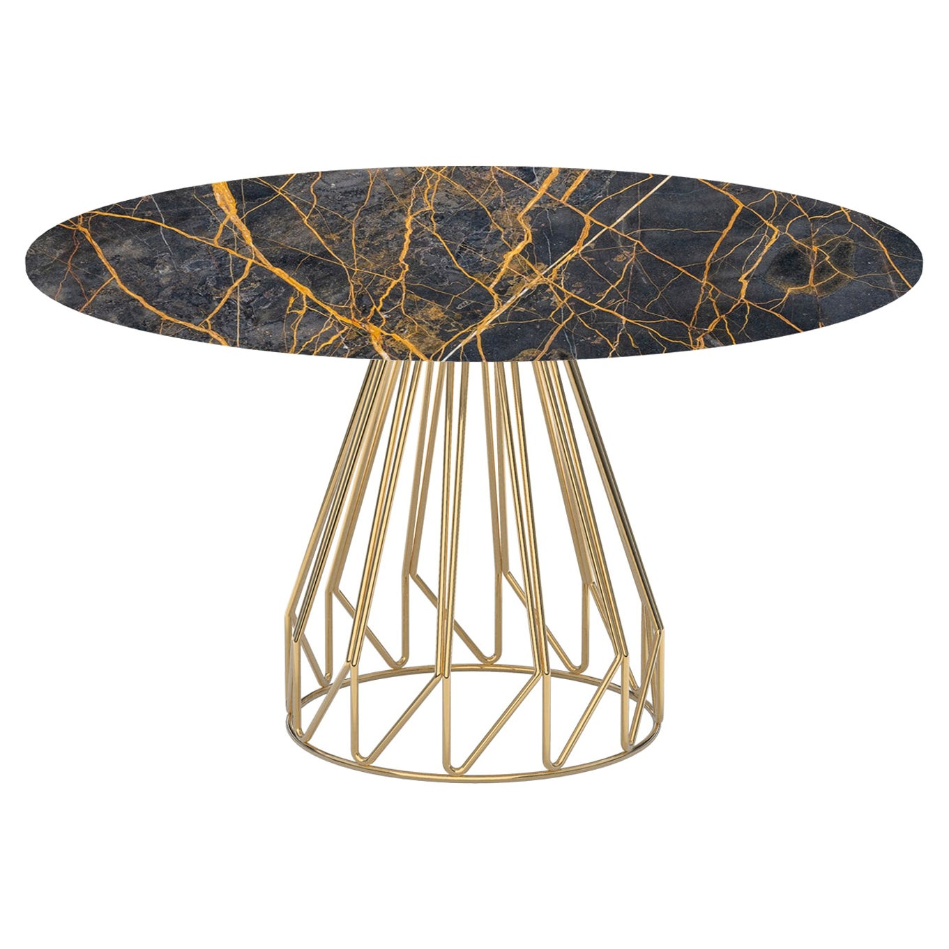 Contemporary Minimalist Table Gold, Port Laurent Made in Italy by LapiegaWD