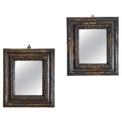 Pair Northern Italian Carved, Painted, & Lacquered Mirrors, Early 18th Century