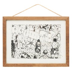 Traditional Mid 20th Century Ink Painting Framed