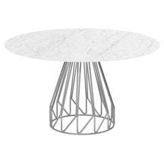 Contemporary Minimalist Table Chrome, Carrara Calacatta Made in Italy LapiegaWD