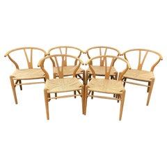 Set of 6 Original Oak Wishbone Chairs by Hans Wegner for Carl Hanson & Son