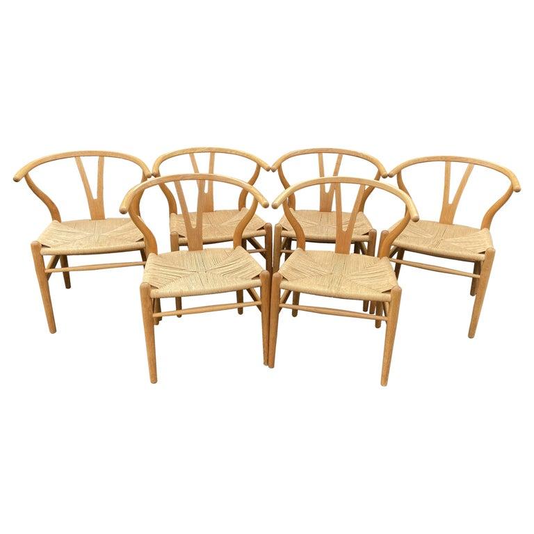 Set of 6 Original Oak Wishbone Chairs by Hans Wegner for Carl Hanson & Son For Sale