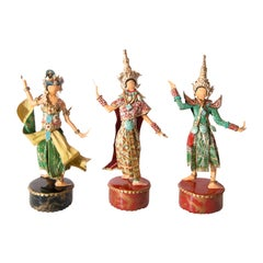 Trio of Thailand Dance Costumed Sculptures by Lee Menichetti