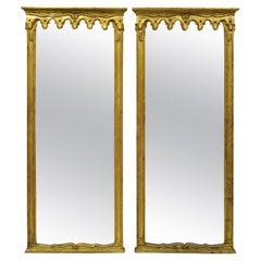 Vintage Italian Hollywood Regency Gold Giltwood Trumeau Wall Mirrors, a Pair
