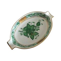 Herend Ungarsk Chinese Bouquet Green Spoon Holder Dish