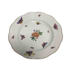 Herend Porcelain Hand-Painted Desert Plate with Insects, Butterflies and Flower