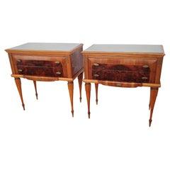 Pair of Italian Midcentury Art Deco Nightstands Bedside Tables Walnut Glass Top