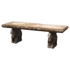 Mid-Century French Weathered Concrete Garden Bench with Carved Rabbit Figures