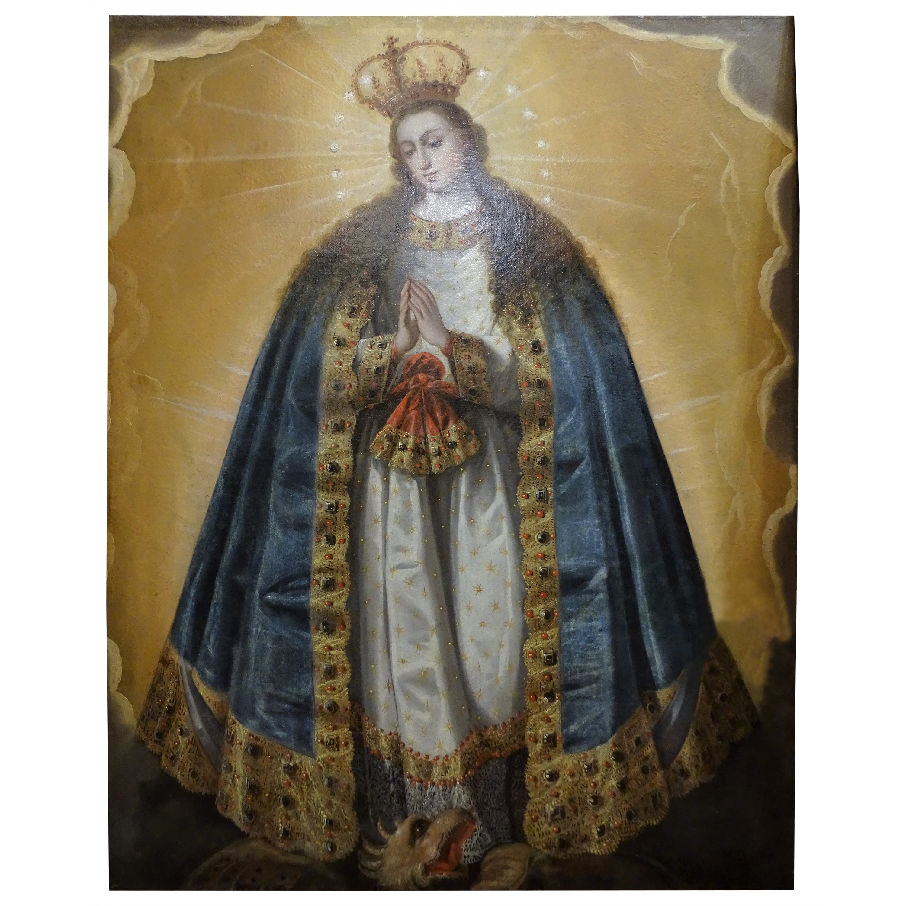 """17th Century Spanish Oil on Canvas, Religious """"Mary Inmaculate"""""""