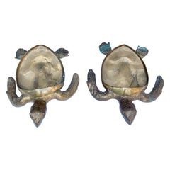 Pair of Large Brass Turtles Planters or Platters