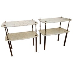 Pair of Italian Brass Marble Midcentury Art Deco Nightstands Bed Side End Tables