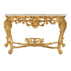 Italian Early 19th Century Louis XV Style Giltwood and Carrara Marble Console