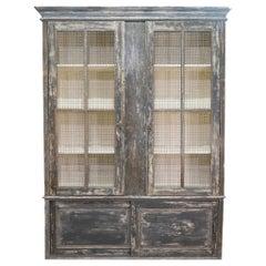 Large Scale 19th Century Painted Housekeepers Cupboard, Mesh Doors