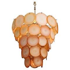 Vintage Peach Vistosi Style Murano Glass Disc Chandelier with Chrome Frame